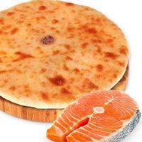 Пирог с сыром и лососем